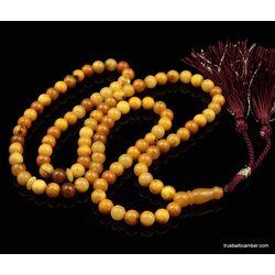 ANTIQUE Islamic 99 Baltic amber Prayer ROUND beads