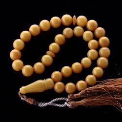 ANTIQUE Islamic EGG YOLK 33 Baltic amber Prayer ROUND beads