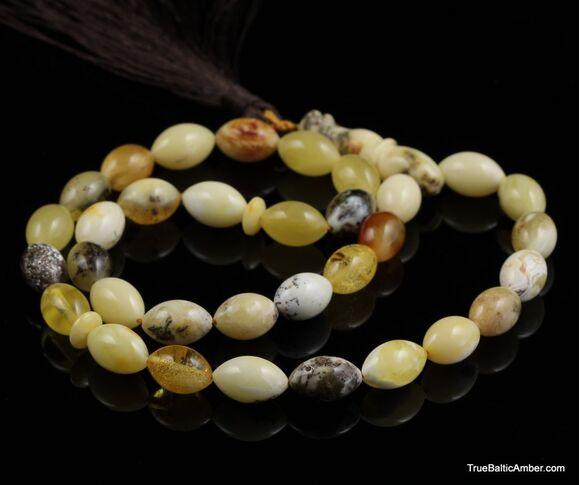 Islamic 33 Baltic amber prayer OLIVE beads